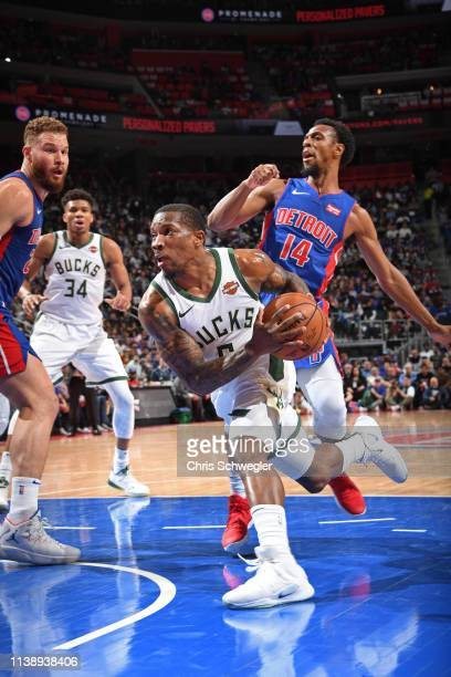 Eric Bledsoe of the Milwaukee Bucks drives to the basket against the Detroit Pistons during Game Four of Round One of the 2019 NBA Playoffs on April...