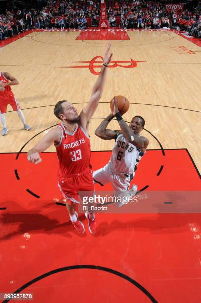 Eric Bledsoe of the Milwaukee Bucks drives to the basket against the Houston Rockets of the Houston Rockets of the Milwaukee Bucks during the game on...