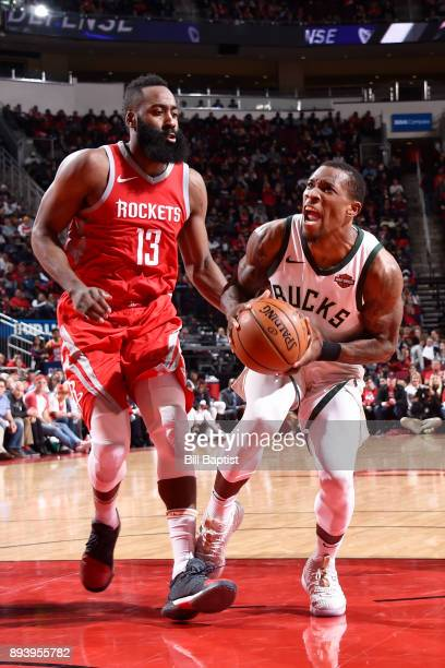 Eric Bledsoe of the Milwaukee Bucks drives to the basket against the Houston Rockets on December 16 2017 at the Toyota Center in Houston Texas NOTE...
