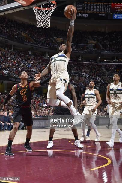 Eric Bledsoe of the Milwaukee Bucks drives to the basket against the Cleveland Cavaliers on March 19 2018 at Quicken Loans Arena in Cleveland Ohio...