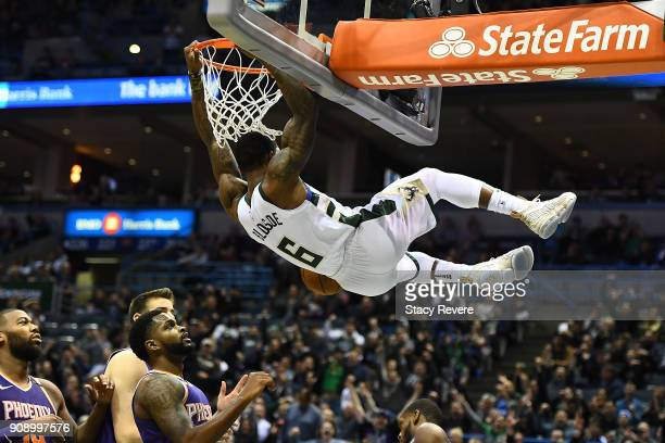 Eric Bledsoe of the Milwaukee Bucks dunks against the Phoenix Suns during the second half of a game at the Bradley Center on January 22 2018 in...