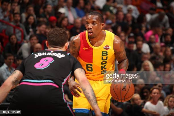 Eric Bledsoe of the Milwaukee Bucks handles the ball against the Miami Heat on December 22 2018 at American Airlines Arena in Miami Florida NOTE TO...