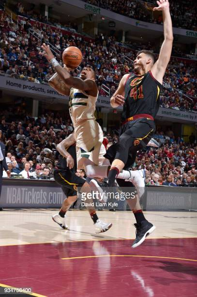 Eric Bledsoe of the Milwaukee Bucks handles the ball against the Cleveland Cavaliers on March 19 2018 at Quicken Loans Arena in Cleveland Ohio NOTE...