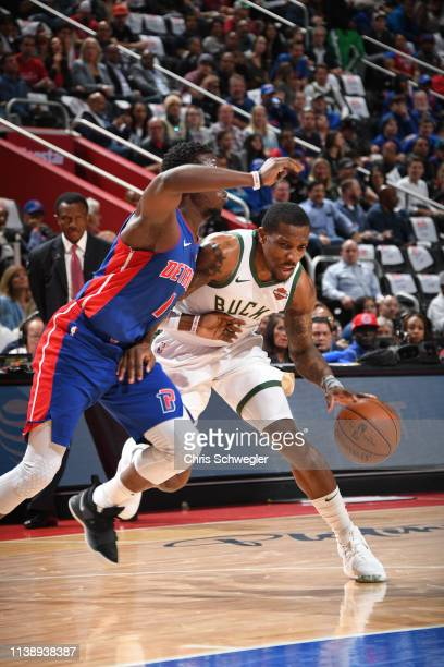 Eric Bledsoe of the Milwaukee Bucks handles the ball against the Detroit Pistons during Game Four of Round One of the 2019 NBA Playoffs on April 22...