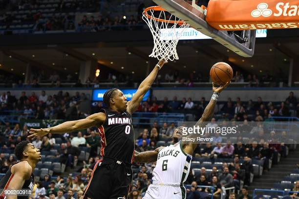 Eric Bledsoe of the Milwaukee Bucks is defended by Josh Richardson of the Miami Heat during the first half of a game at the Bradley Center on January...