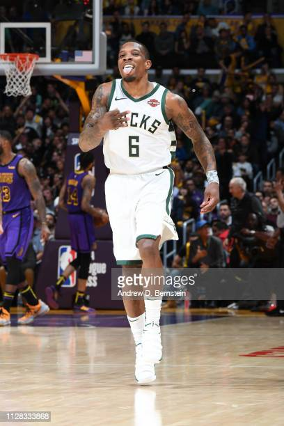 Eric Bledsoe of the Milwaukee Bucks reacts against the Los Angeles Lakers on March 1 2019 at STAPLES Center in Los Angeles California NOTE TO USER...