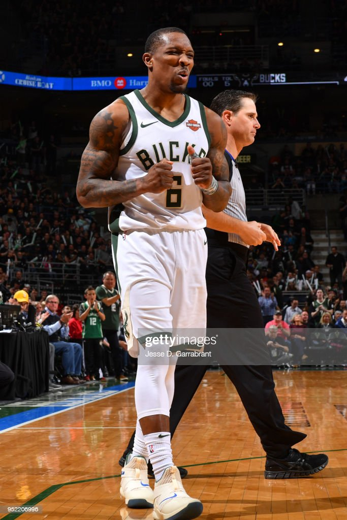 Eric Bledsoe #6 of the Milwaukee Bucks reacts during Game Six of Round One of the 2018 NBA Playoffs against the Boston Celtics on April 26, 2018 at the BMO Harris Bradley Center in Milwaukee, Wisconsin.