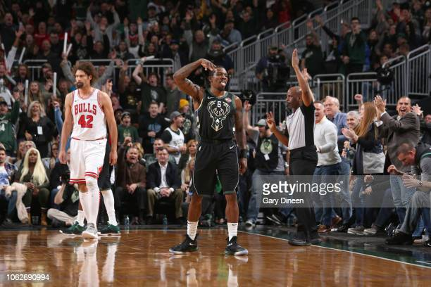 Eric Bledsoe of the Milwaukee Bucks reacts to a play during the game against the Chicago Bulls on November 16 2018 at Fiserv Forum in Milwaukee...
