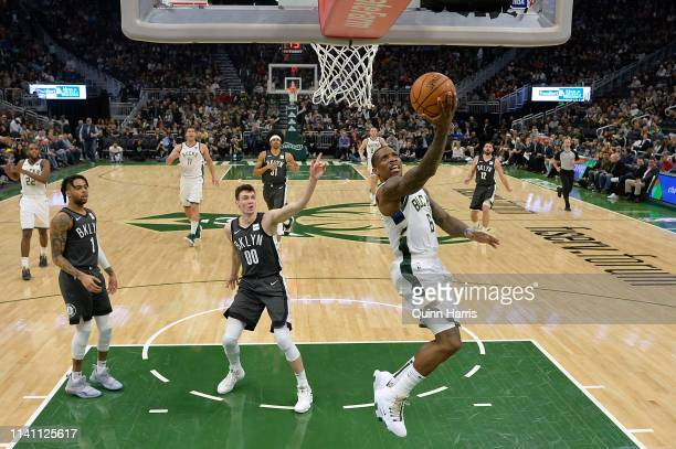 Eric Bledsoe of the Milwaukee Bucks shoots a lay up in the second half against the Brooklyn Netsat Fiserv Forum on April 06 2019 in Milwaukee...