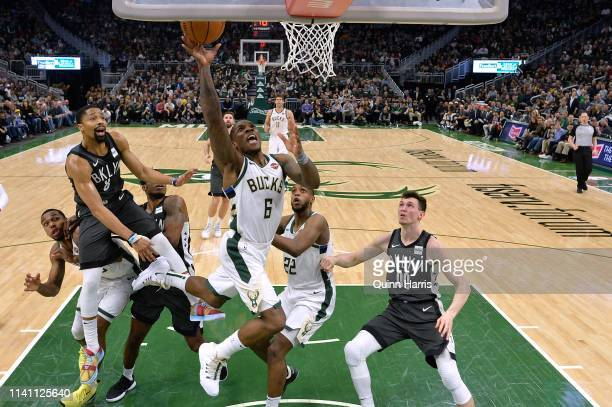 Eric Bledsoe of the Milwaukee Bucks shoots in the second half against the Brooklyn Netsat Fiserv Forum on April 06 2019 in Milwaukee Wisconsin NOTE...