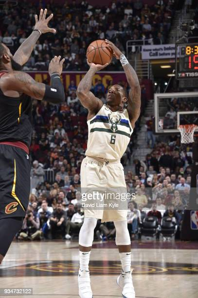Eric Bledsoe of the Milwaukee Bucks shoots the ball against the Cleveland Cavaliers on March 19 2018 at Quicken Loans Arena in Cleveland Ohio NOTE TO...