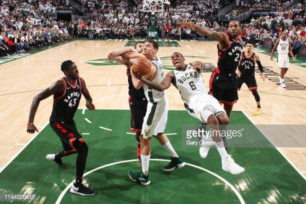 Eric Bledsoe of the Milwaukee Bucks shoots the ball against the Toronto Raptors during Game One of the Eastern Conference Finals of the 2019 NBA...