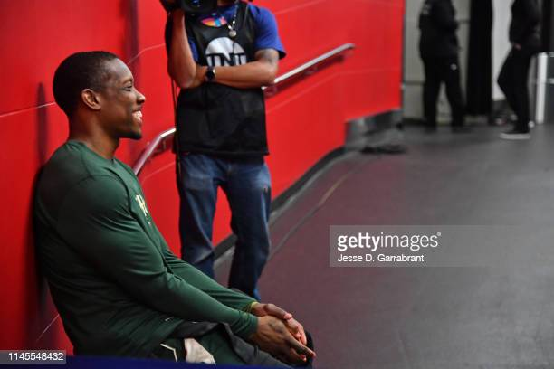 Eric Bledsoe of the Milwaukee Bucks smiles against the Toronto Raptors during Game Four of the Eastern Conference Finals of the 2019 NBA Playoffs on...
