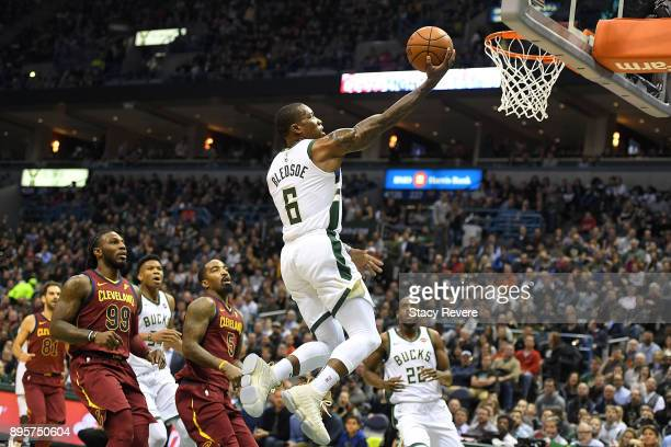 Eric Bledsoe of the Milwaukee Bucks takes a shot during the first half of a game against the Cleveland Cavaliers at the Bradley Center on December 19...