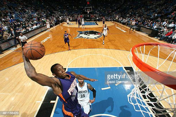 Eric Bledsoe of the Phoenix Suns goes up for a dunk against the Minnesota Timberwolves on January 7 2015 at Target Center in Minneapolis Minnesota...