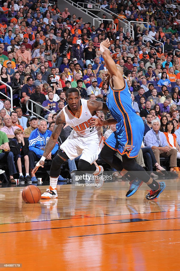 Eric Bledsoe #2 of the Phoenix Suns handles the ball against the Oklahoma City Thunder on April 6, 2014 at U.S. Airways Center in Phoenix, Arizona.