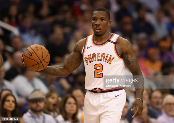 Eric Bledsoe of the Phoenix Suns handles the ball during the first half of the NBA game ao at Talking Stick Resort Arena on October 18 2017 in...