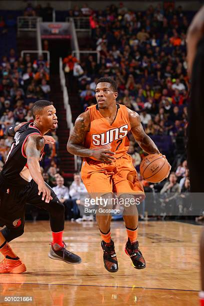Eric Bledsoe of the Phoenix Suns handles the ball during the game against the Portland Trail Blazers on December 11 2015 at US Airways Center in...