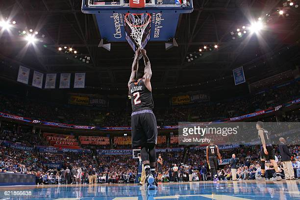 Eric Bledsoe of the Phoenix Suns looks on during the game against the Oklahoma City Thunder on October 28 2016 at the Chesapeake Energy Arena in...