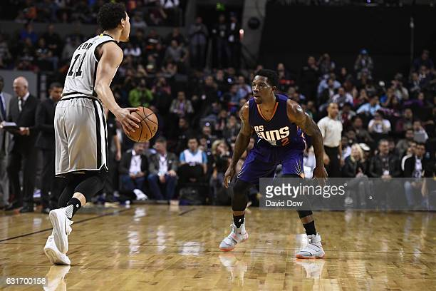 Eric Bledsoe of the Phoenix Suns plays defense against Bryn Forbes of the San Antonio Spurs as part of NBA Global Games at Arena Ciudad de Mexico on...