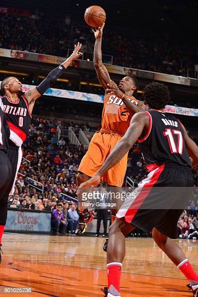 Eric Bledsoe of the Phoenix Suns shoots the ball during the game against the Portland Trail Blazers on December 11 2015 at US Airways Center in...