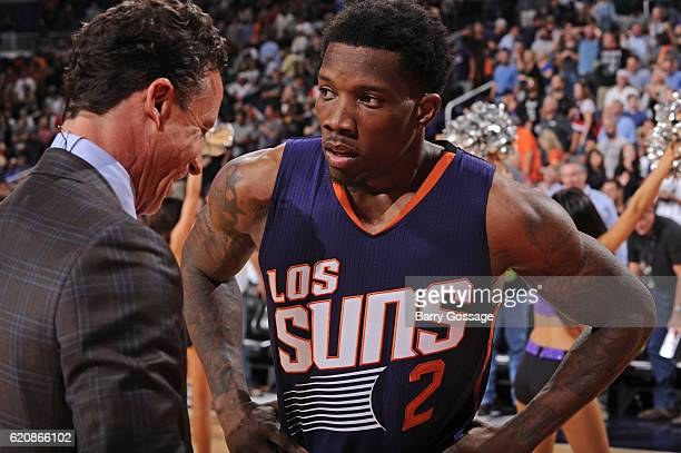 Eric Bledsoe of the Phoenix Suns talks to the media after making the game winning three point basket in overtime against the Portland Trail Blazers...