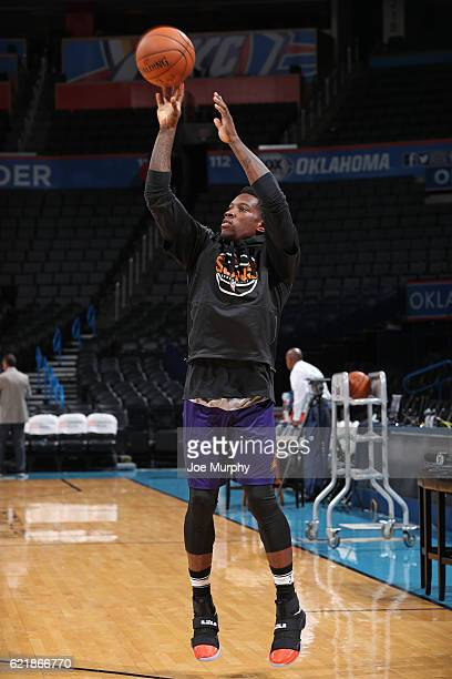 Eric Bledsoe of the Phoenix Suns warms up before the game against the Oklahoma City Thunder on October 28 2016 at the Chesapeake Energy Arena in...