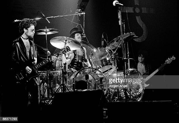 Eric Bloom and drummer Albert Bouchard of the band Blue Oyster Cult perform on stage playing transparent drum kit on October 27th 1975 in Copenhagen...