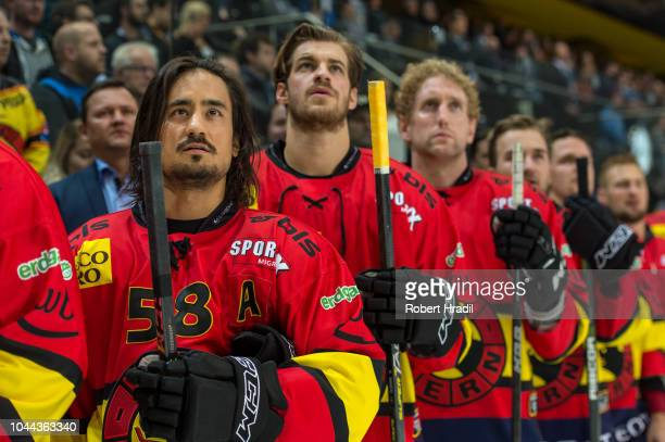 Eric Blum of SC Bern looks on during the NHL Global Series Challenge Switzerland 2018 match between SC Bern and New Jersey Devils at PostFinance...