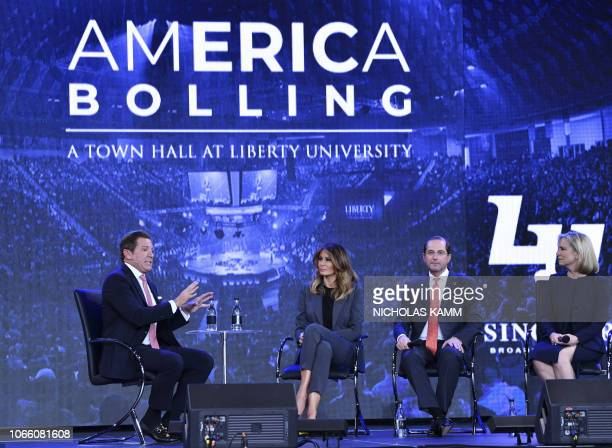 Eric Bolling speaks as US First Lady Melania Trump participates in a town hall meeting on opioids at Liberty University in Lynchburg Virginia on...