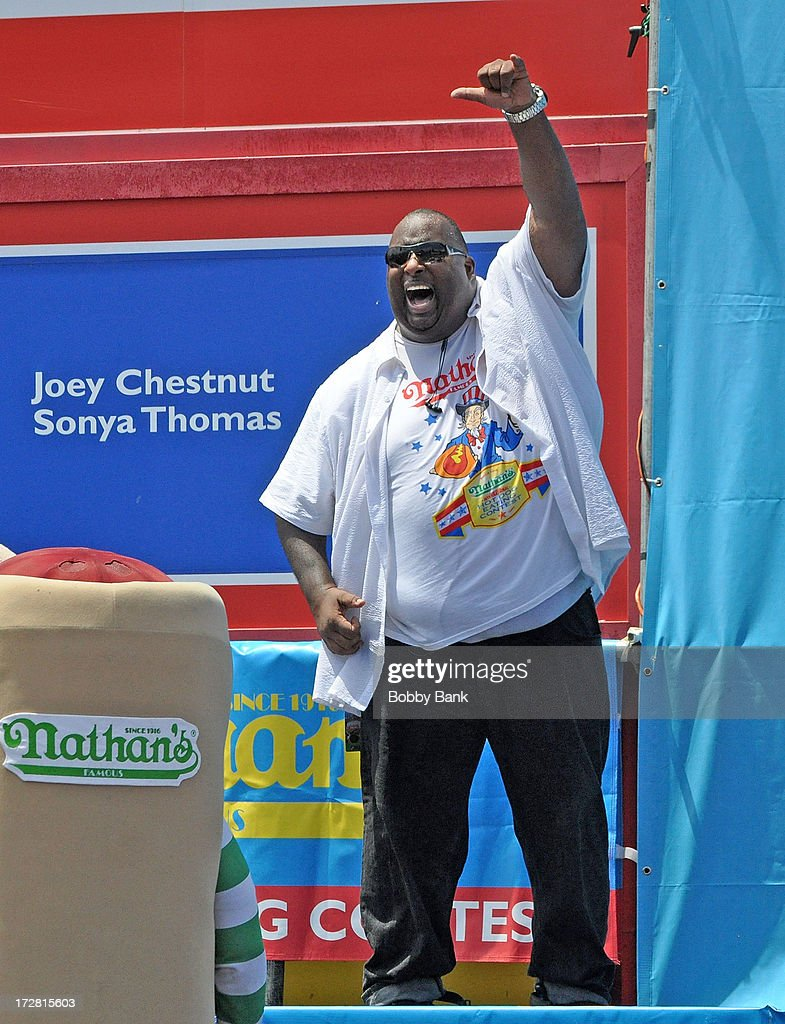 Eric Booker attends the 2013 Nathan's Famous Hot Dog Eating Contest at Coney Island on July 4, 2013 in New York City.