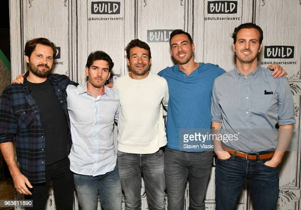 Eric Borsuk Spencer Reinhard Bart Layton Chas Allen and Warren Lipka attend the Build Series to discuss the new film American Animals at Build Studio...