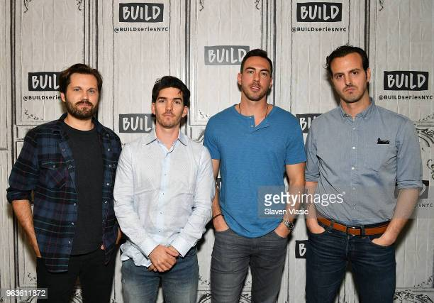 Eric Borsuk Spencer Reinhard Chas Allen and Warren Lipka attend the Build Series to discuss the new film American Animals at Build Studio on May 29...