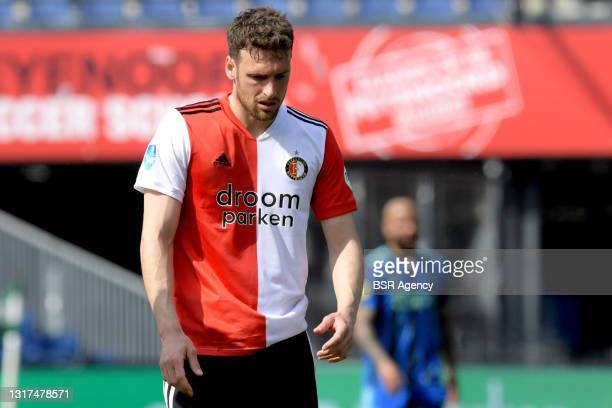 Eric Botteghin of Feyenoord during the Dutch Eredivisie match between Feyenoord and Ajax at de Kuip on May 9, 2021 in Rotterdam, Netherlands