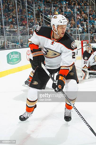 Eric Brewer of the Anaheim Ducks collects the puck against the San Jose Sharks during an NHL game on November 29, 2014 at SAP Center in San Jose,...