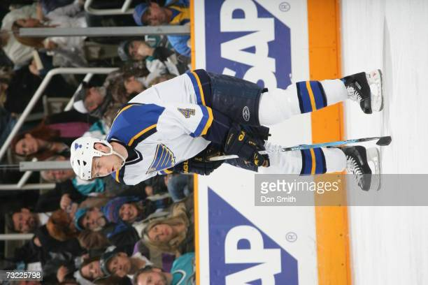 Eric Brewer of the St. Louis Blues readies for a faceoff during a game against the San Jose Sharks on January 20, 2007 at the HP Pavilion in San...