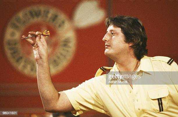 Eric Bristow aka The Crafty Cockney in action on 21 April 1983 during the Flowers Dartsathlon at the Redwood Lodge Country Club Bristol