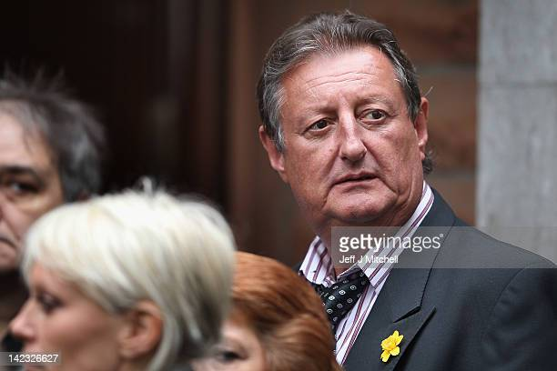 Eric Bristow attends the funeral of Jocky Wilson at Kirkcaldy crematorium on April 2 2012 in Kirkcaldy Mr Wilson had been suffering with a lung...