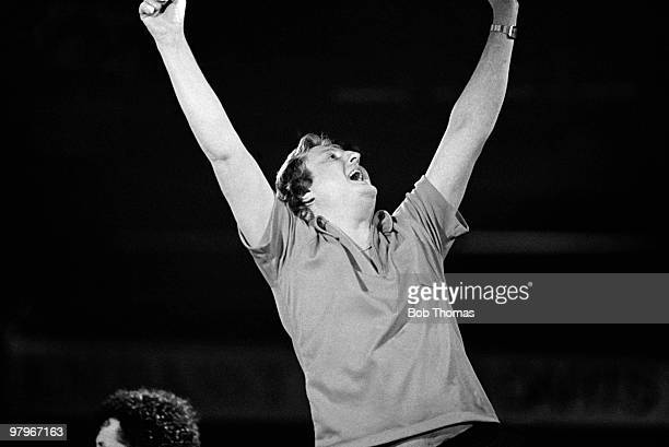 Eric Bristow of England celebrates victory after winning the Embassy World Professional Darts Championship held at Stoke-on-Trent, England on the...