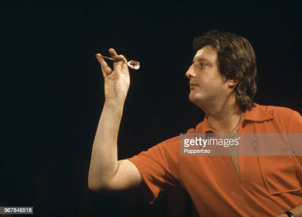 Eric Bristow of England in action during the BDO Embassy World Darts Championship tournament at the Lakeside Country Club in Frimley Green England...