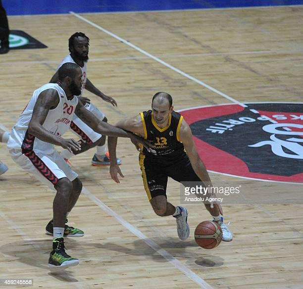 Eric Buckner of Usak Sportif vies with Rolandas Alijevas of BC Siauliai during FIBA EuroChallenge Group H basketball match between Usak Sportif and...