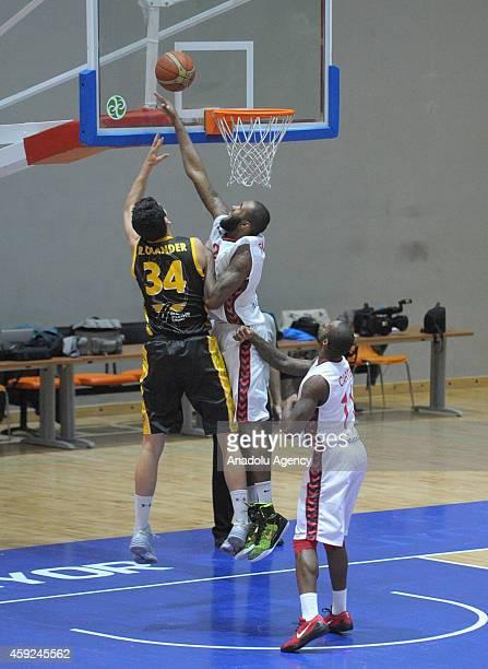 Eric Buckner of Usak Sportif vies with Ryan Olander of BC Siauliai during FIBA EuroChallenge Group H basketball match between Usak Sportif and BC...