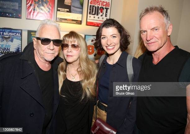 """Eric Burdon of """"The Animals"""", Stevie Nicks, Frances McNamee and Sting pose backstage at the musical """"The Last Ship"""" at The Ahmanson Theatre on..."""