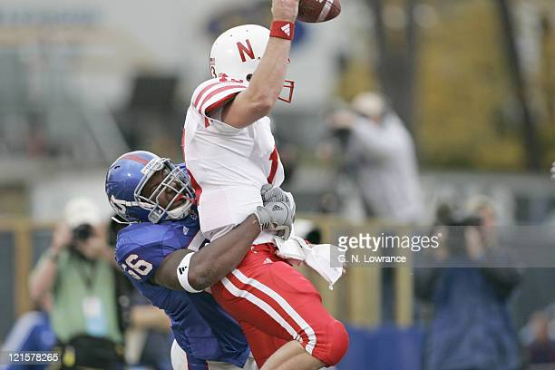 Eric Butler of the Kansas Jayhawks sacks Zac Taylor of the Nebraska Cornhuskers for a safety in the 4th quarter at Memorial Stadium in Lawrence...