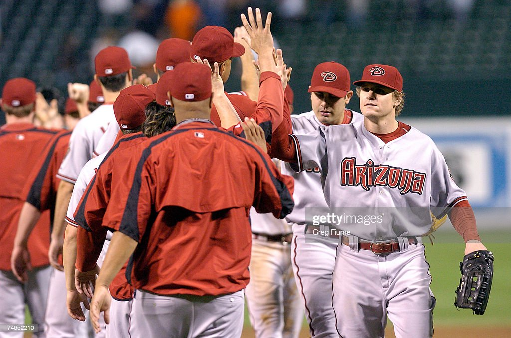 Eric Byrnes #22 of the Arizona Diamondbacks celebrates with teammates after beating the Baltimore Orioles 7-3 at Camden Yards June 15, 2007 in Baltimore, Maryland.