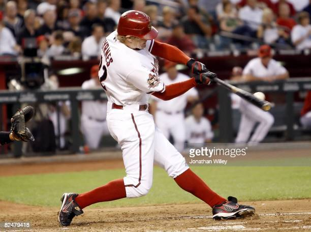 Eric Byrnes of the Arizona Diamondbacks hits during the game against the Detroit Tigers at Chase Field in Phoenix Arizona on May 16 2008 The Dbacks...