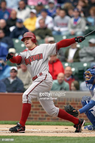 Eric Byrnes of the Arizona Diamondbacks swings at the pitch during the game against the Chicago Cubs on May 9 2008 at Wrigley Field in Chicago...