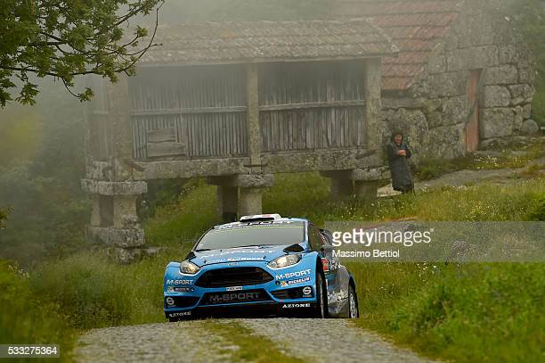Eric Camilli of France and Benjamin Veillas of France compete in their MSport WRT Ford Fiesta RS WRC during Day Two of the WRC Portugal on May 21...