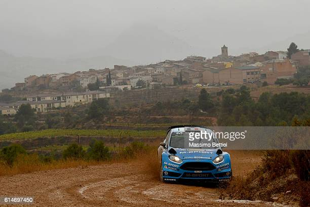 Eric Camilli of France and Benjamin Veillas of France compete in their MSport WRT Ford Fiesta RS WRC during Day One of the WRC Spain on October 14...