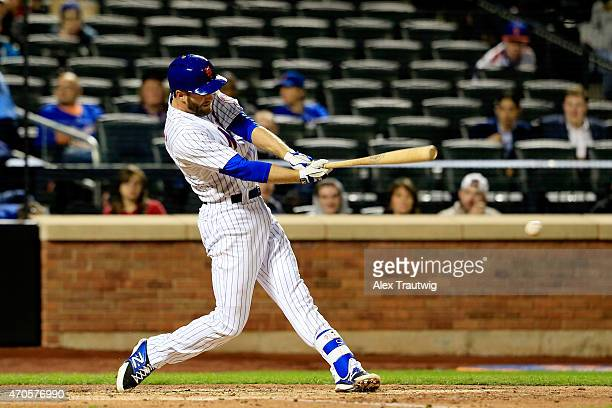 Eric Campbell of the New York Mets gets a hit against the Atlanta Braves in the bottom of the fifth inning during a game at Citi Field on April 21...